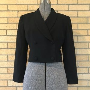 Vintage Christian Dior Cropped Black Wool Jacket